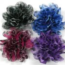 Blue Tulle Cheetah Flower Clip