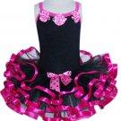 Hot Pink & Black Ruffle Dress (small)