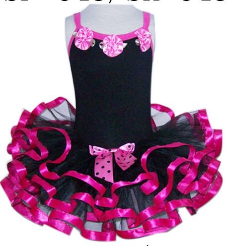Hot Pink & Black Ruffle Dress (large)