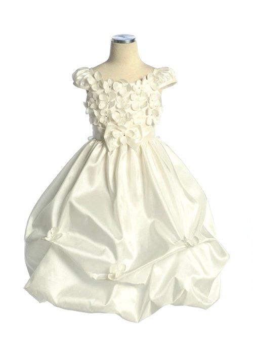 Ivory Taffeta Flower Bubble Dress (6)