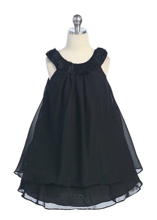 Black Multi-Layer Chiffon Dress with Roses (4)