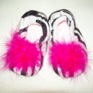 Zebra Print Slippers with Hot Pink Boa (Large)