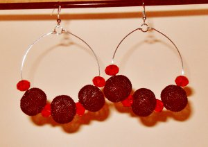 Basketball Wives inspired earrings Black mesh hoops and brilliant Rondelle Red beads