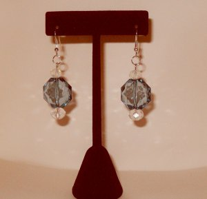 Dangle Earrings with large blue bead and clear crystal beads