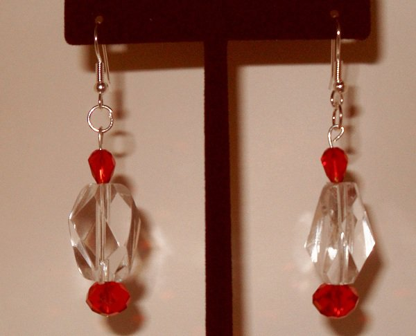 Dangle Earrings elegant large clear bead with red Swarvoski teardrop beads