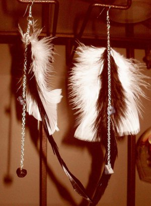 Feather Earrings black and white with chains and beads
