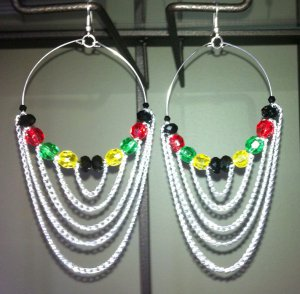 Jamaican style Rasta hoops with colorful beads and chains