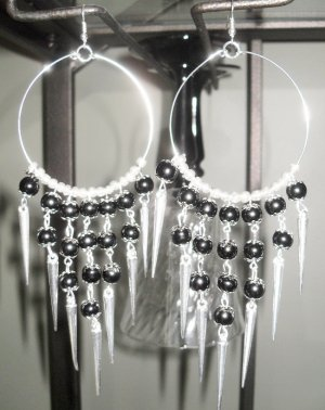 Basketball Wives inspired with silver spikes black and silver beads