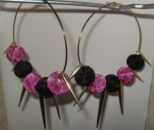 Basketball Wives inspired earrings with hot pink and black mesh beads and spikes