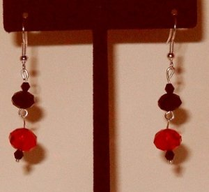 Dangle Earrings 3 tier with red and black Swarvoski beads