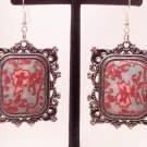 Antique silver style rose pendant floral earrings with rhinestones