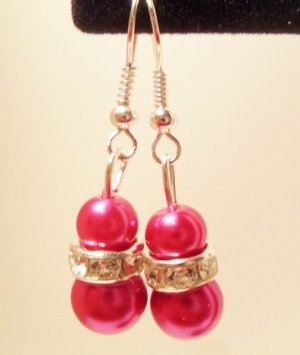 Pink Faux Pearl Dangle Earrings with Rondelle Bead