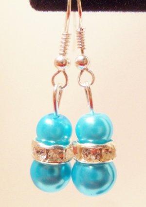 Blue faux pearl earrings with Rondelle rhinestone bead