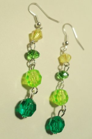 "Dangle earrings with different shades of green and yellow beads Approx 3"" length"