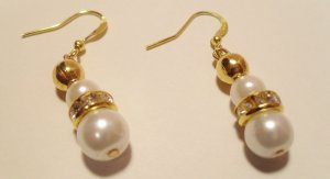 White and Gold glass pearl earrings with rhinestone Rondelle center and gold plated earring hooks