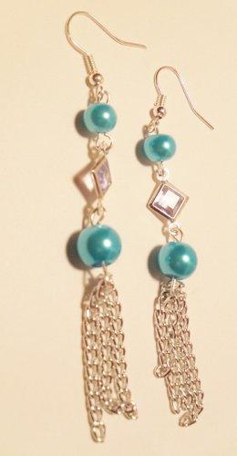 Blue glass pearl dangle earrings blue diamond shaped pendant silver chains