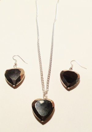 Black and Silver heart shaped pendant necklace and matching earrings