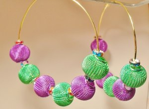 Basketball Wives Poparazzi inspired hoop earrings colorful beads