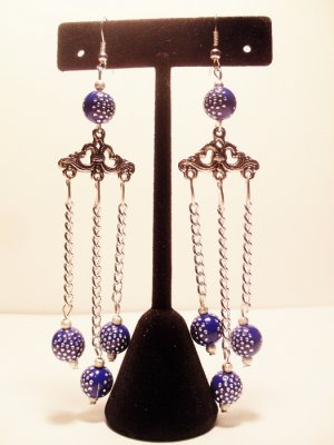 Chandelier earrings with silver pendant blue beads w rhinestones and chains