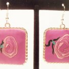 Dangle earrings large pink rose pendant earrings with silver border