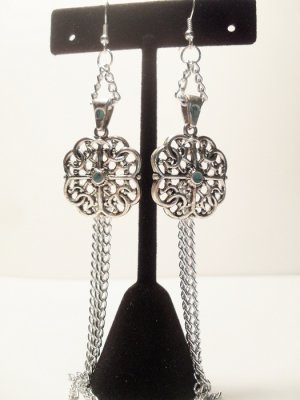 Chandelier with silver pendant with blue center bead and silver plated chains