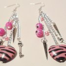 Heart earrings pink zebra