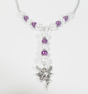 Fairy Magical Pendant necklace with purple and white pearls and silver chain