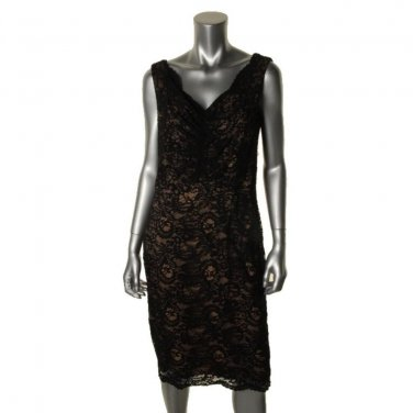 Little Black Dress Alex Evenings  Lace with Nude Lining Size 14