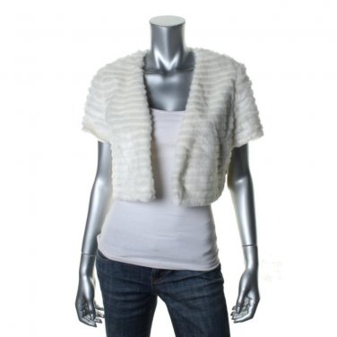 Jessica Simpson Faux Fur Jacket Shrug Ivory/White Size L