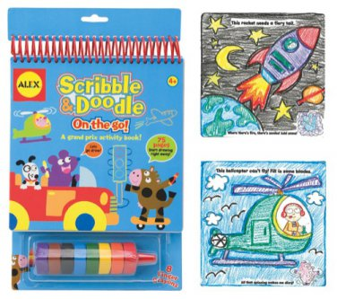 Alex Scibble & doodle on the go activity coloring book with crayons new