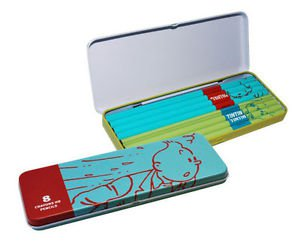 Tintin & Snowy metal  pencil case with 8 pencils New