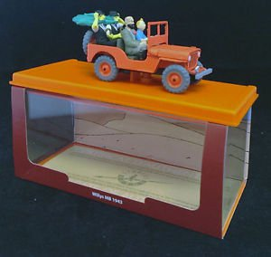 """Tintin Jeep Willys 1943 , from """"Land of the Black Gold"""", scale 1/43,New Edition"""