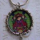 Virgencita Plis Flattened Bottle Cap Keychain with Color Beads Distroller