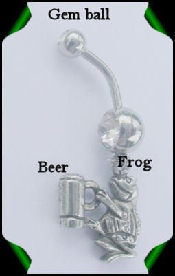 FROG w/BEER STEIN NAVEL RING w/LIGHT GREEN GEM