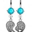 """BEST FRIEND"" AQUA HEART CHARM NAVEL RING"