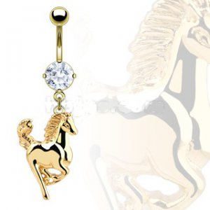GOLD PLATED HORSE BANANA DANGLE BELLY RING