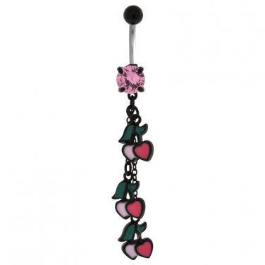 Cherry And Heart Dangle Navel Ring