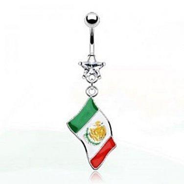 MEXICO FLAG NAVEL RING