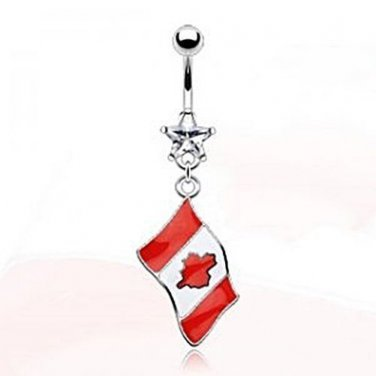 CANADIAN FLAG NAVEL RING