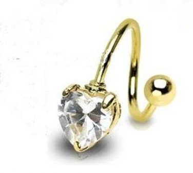 Gold Plated Heart Twist with Prong Set Heart Gem