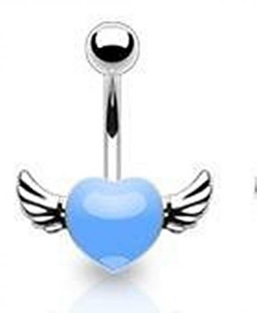 ANGEL WINGED LIGHT BLUE NAVEL RING