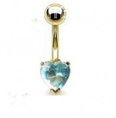 GOLD PLATED NAVEL w/AQUA HEART