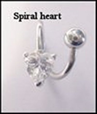 HEART TWIST CLEAR GEM NAVEL RING