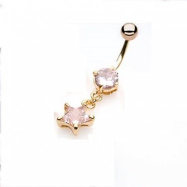 GOLD PLATED DANGLING STAR W/PINK GEM NAVEL RING