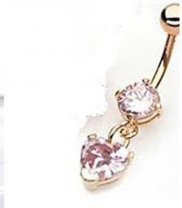 GOLD PLATED DANGLING HEART PINK GEM NAVEL RING