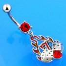 FLAME w/LUCKY SEVEN DICE BELLY RING