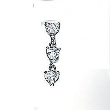 Top Down Heart Prong Setting With Clear CZ Navel