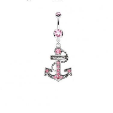 Multi Paved Anchor Dangle Navel Ring with Double Pink CZ Gems