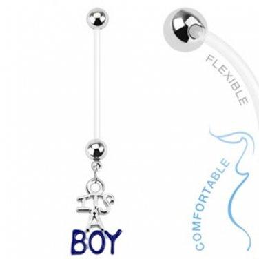 Baby Boy Gender Dangle Bio Flex Pregnancy Navel Ring