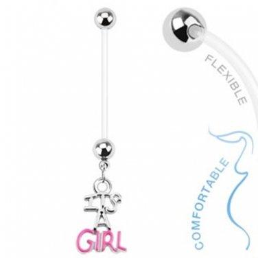 Baby Girl Gender Dangle Bio Flex Pregnancy Navel Ring